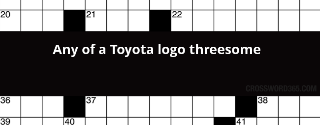 any of a toyota logo threesome crossword clue