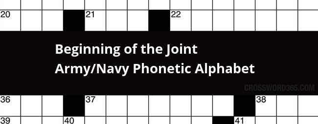 Beginning Of The Joint Army Navy Phonetic Alphabet Crossword Clue