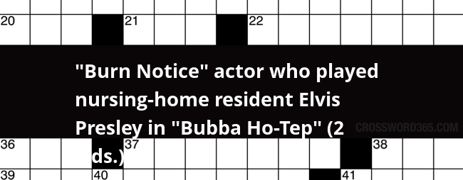 Burn Notice Actor Who Played Nursing Home Resident Elvis Presley In Bubba Ho Tep 2 Wds Crossword Clue