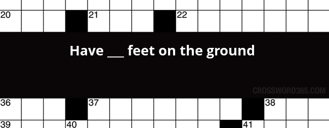Have Feet On The Ground Crossword Clue