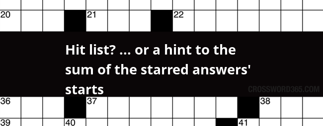 Hit List Or A Hint To The Sum Of The Starred Answers Starts Crossword Clue